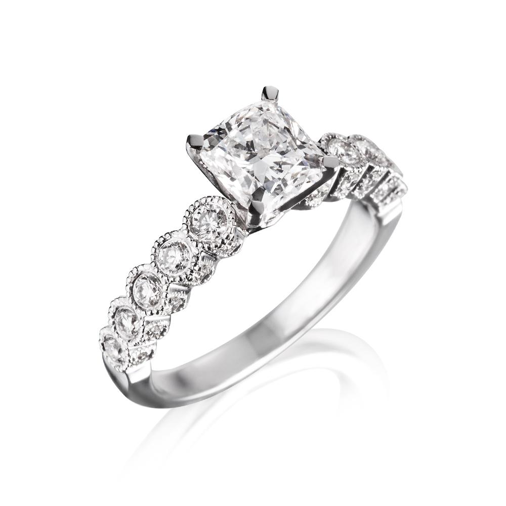80分-1克拉枕型古典婚戒钻戒 a&j collection 亚爵钻石